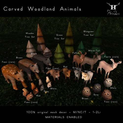 Half-Deer-Carved Woodland Animals